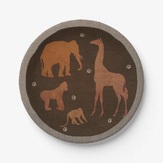 Assiettes En Papier Animaux africains vintages de zoo de jungle de