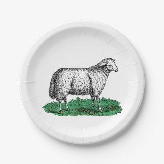 Assiettes En Papier Animaux de ferme vintages de brebis de moutons