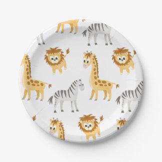 Assiettes En Papier Animaux mignons de bébé de lion et de girafe de