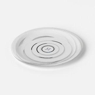 Assiettes En Papier Anneaux blancs de recouvrement - faux 3D - plaque