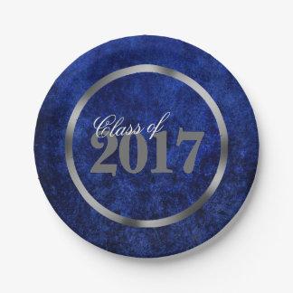 Assiettes En Papier Année royale bleue d'azur de cobalt du diplômé  