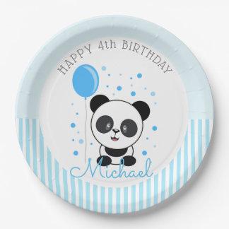 Assiettes En Papier Anniversaire bleu de panda de Cutie