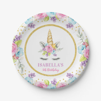 Assiettes En Papier Anniversaire floral de licorne d'aquarelle