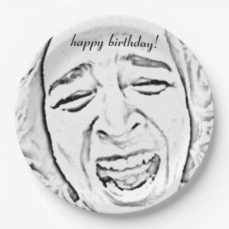 Assiettes En Papier Anniversaire riant hilare d'impression de visage