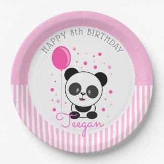 Assiettes En Papier Anniversaire rose de panda de Cutie