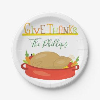 Assiettes En Papier Appréciez votre thanksgiving Turquie