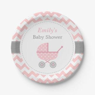 Assiettes En Papier Approvisionnements roses de douche de bébé de