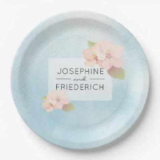 Assiettes En Papier Aquarelle bleue de fleurs de cerisier épousant la
