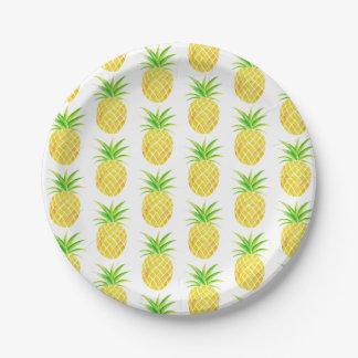 Assiettes En Papier Aquarelle d'ananas tropicale