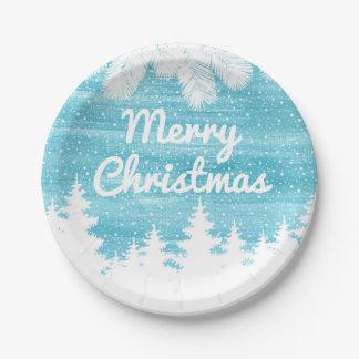 Assiettes En Papier Aquarelle de Noël | - pins de neige