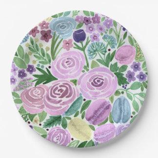 Assiettes En Papier Aquarelle, fleurs et macarons