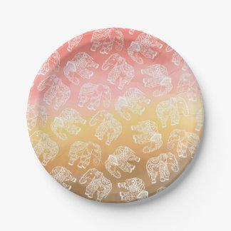 Assiettes En Papier Aquarelle florale de brun de rose d'éléphants de