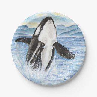 Assiettes En Papier Aquarelle ouvrant une brèche la baleine d'orque