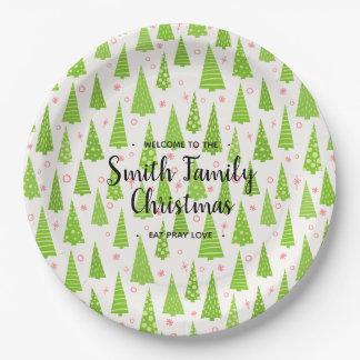 Assiettes En Papier Arbre de Noël, votre famille appelée Christmas