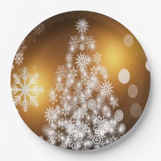 Assiettes En Papier Arbre d'or de flocon de neige de Bokeh de Noël
