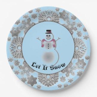 Assiettes En Papier Argent de bonhomme de neige de flocon de neige