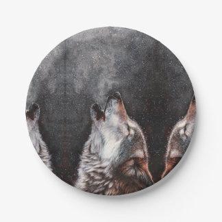 Assiettes En Papier Art de loup - loup d'hurlement - peinture de loup