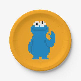 Assiettes En Papier Art de pixel de monstre de biscuit