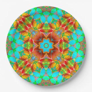 Assiettes En Papier Art floral G410 de fractale de plaque à papier