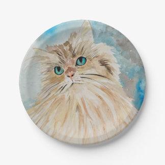 Assiettes En Papier Art mignon d'aquarelle de chat persan