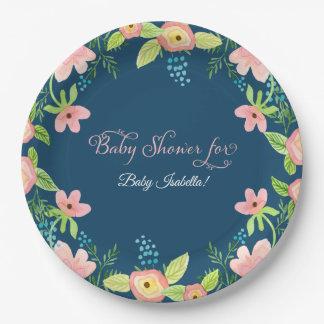 Assiettes En Papier Art moderne floral simple d'aquarelle de bébé de