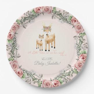 Assiettes En Papier Art rose floral de douche de bébé d'Antler de