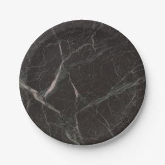 Assiettes En Papier Aspect de marbre noir 4Claude de Faux