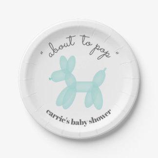 Assiettes En Papier Au sujet de pour sauter le baby shower bleu animal
