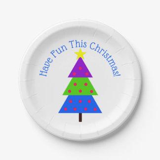 Assiettes En Papier Ayez l'amusement ces vacances d'arbre de Noël