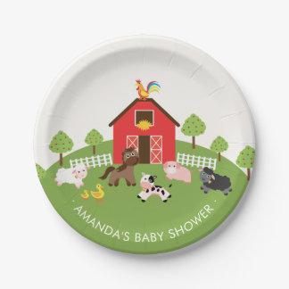 """Assiettes En Papier Baby shower 7"""" d'animaux de ferme de basse-cour"""