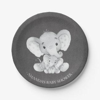 """Assiettes En Papier Baby shower 7"""" de garçons d'éléphant de tableau"""