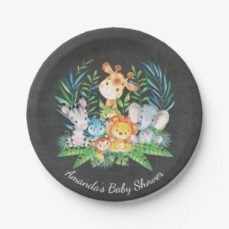 """Assiettes En Papier Baby shower 7"""" de jungle de safari de tableau plat"""
