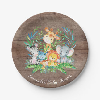 "Assiettes En Papier Baby shower 7"" de jungle de safari plat"