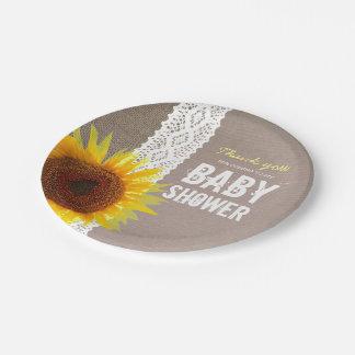 Assiettes En Papier Baby shower de dentelle de toile de jute et de