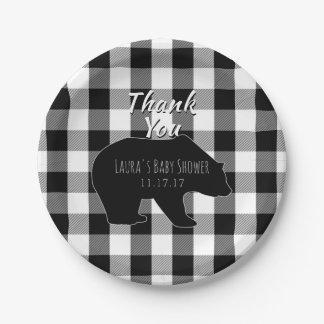 Assiettes En Papier Baby shower de garçon de région boisée du plaid