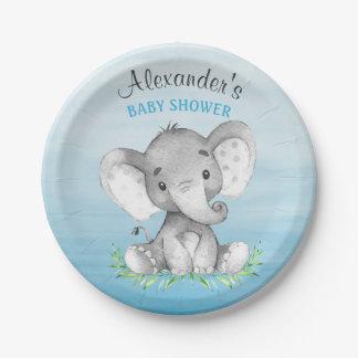 Assiettes En Papier Baby shower de garçon d'éléphant d'aquarelle