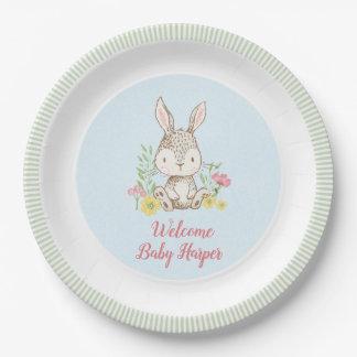 Assiettes En Papier Baby shower de lapin de ressort