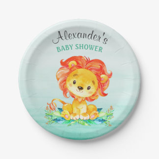 Assiettes En Papier Baby shower de lion d'aquarelle