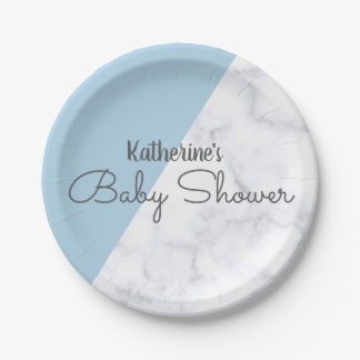 Assiettes En Papier Baby shower de marbre bleu et blanc en pastel
