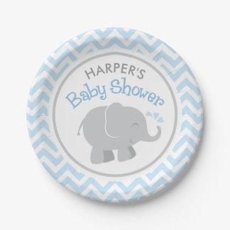 Assiettes En Papier Baby shower | d'éléphant bleu et gris