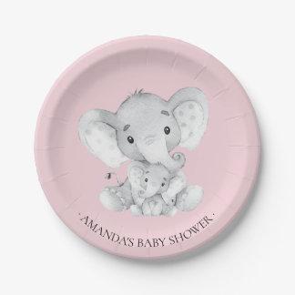 """Assiettes En Papier Baby shower doux 7"""" de filles d'éléphant plat"""