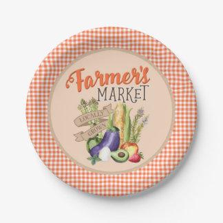 Assiettes En Papier Baby shower du marché d'agriculteurs
