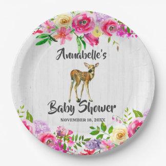 Assiettes En Papier Baby shower floral d'aquarelle de cerfs communs de