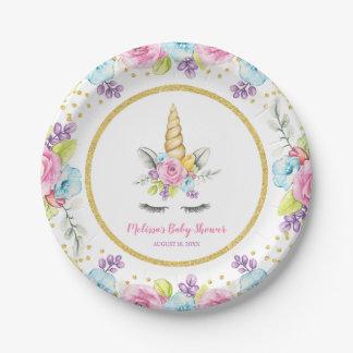 Assiettes En Papier Baby shower floral de licorne d'aquarelle