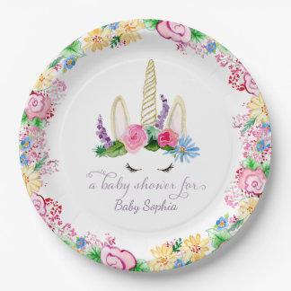 Assiettes En Papier Baby shower floral de licorne de rose magique