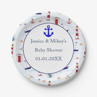 Assiettes En Papier Baby shower maritime nautique d'illustration de