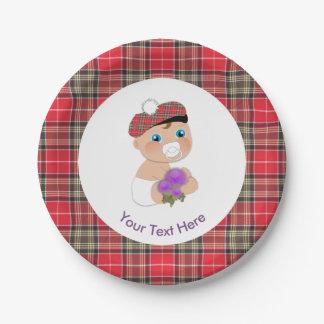 Assiettes En Papier Baby shower mignon de fleur écossaise du tartan