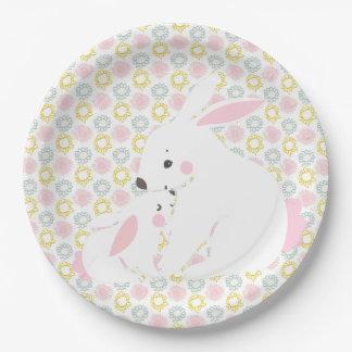 Assiettes En Papier Baby shower mignon de lapin de mère et de bébé