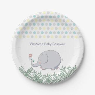 Assiettes En Papier Baby shower mignon de pois d'éléphant