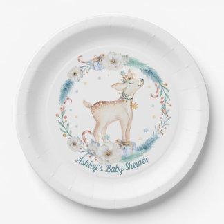 Assiettes En Papier Baby shower mignon de région boisée d'hiver